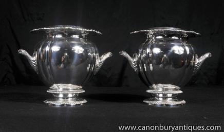 Paar Georgian Silver Plate Champagnerkühler Weinkühler Urnen