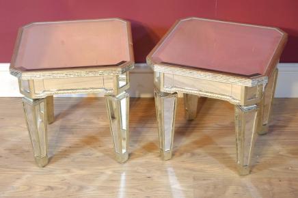Paar Mirrored Coffee Table Beistelltische Spiegel Möbel