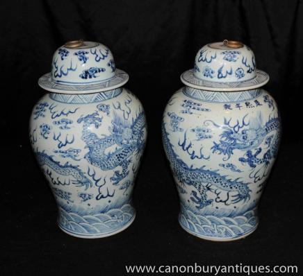 Paar Nanking Keramik Blau Weiß Deckel Urnen Jars chinesisches Porzellan