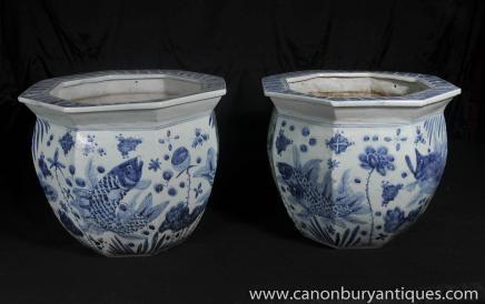 Paar Nanking Keramik Pflanzgefäße Schalen chinesischen Blau Weiß Porzellan