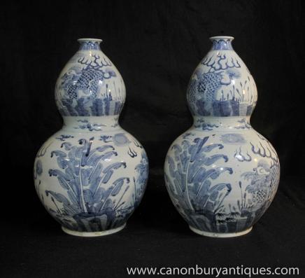 Paar Nanking Porzellan-Vasen-Blau und Weiß Chinesische Keramik Painted