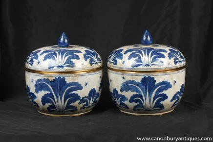 Paar Qianlong Blau Weiß Porzellan Deckelgläser Urnen chinesische Keramik
