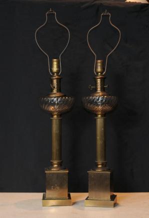Paar Regency Messing Tischleuchten Leuchten Spalte Kristallglas
