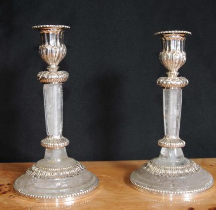 Paar Reich Bergkristall Silver Plate Kerzenständer