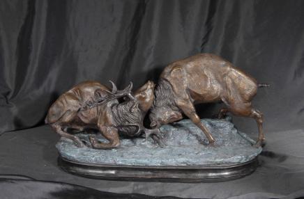 Paar Scottish Bronze Brunft Stags Hirsch Elch Elk Statue