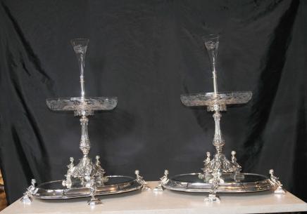 Paar Sheffield Silver Plate Tafelaufsätze Tafelaufsatz Cherub Ständer