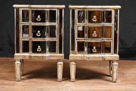 Paar Spiegel Nacht Deco Gespiegelte Nachtschränke Möbel