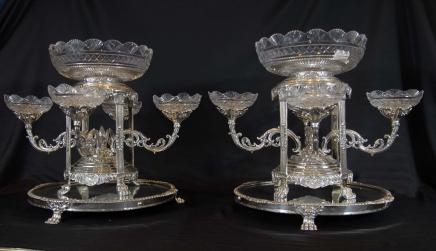 Paar Tafelaufsätze Sheffield Silver Plate Glass Cut Schüsseln