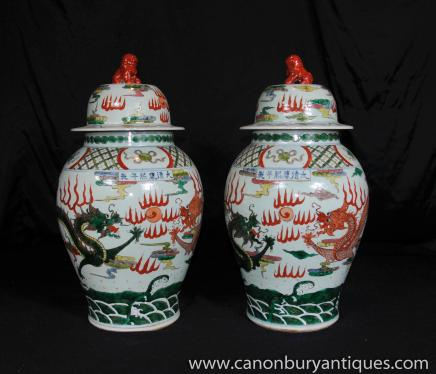 Paar chinesische Keramik Ingwer-Gläser Vasen Qing Urnen Foo Dogs