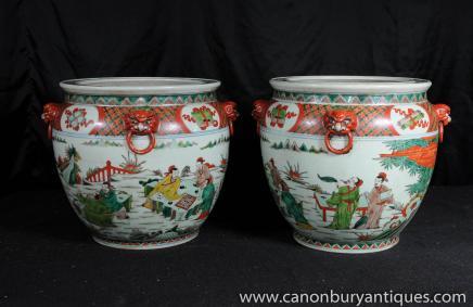 Paar chinesische Qianlong Keramik Pflanz Porzellan Urnen