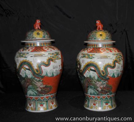 Paar chinesische Qianlong Porzellan Gläser Urnen Drache Keramik
