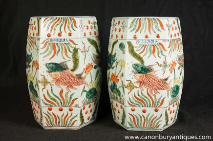 Paar chinesische Qianlong Porzellan Sitze Hocker Vasen Keramik