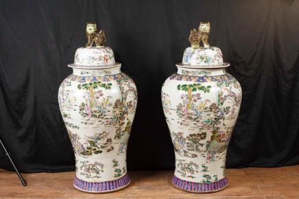 Paar chinesische Qianlong Porzellan Urnen Vase Ingwer-Gläser Qian Pottery
