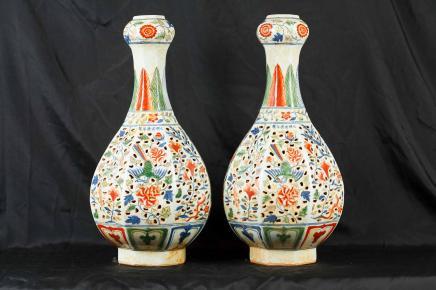 Paar japanische Nabeshima Ware Porzellanvasen Keramik Keramik Urnen