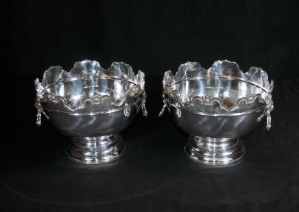 Paar silberne Platten Bowlekübel Pflanzschalen George II