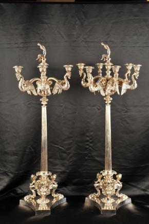 Paar silberne Platten George II Kerzenleuchter