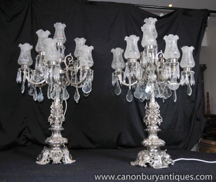 Paar silberne Platten Reich Tische Lampen Leuchten Kandelaber