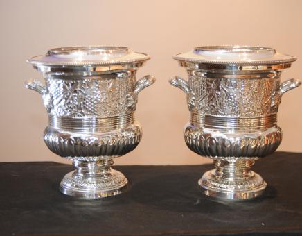 Paar silberne Platten-Weinkühler Champagnerkühler