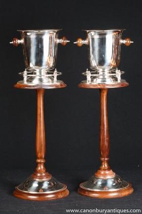 Paar viktorianischen Silver Plate Mahagoni Champagnerkühler Weinkühler Ständer