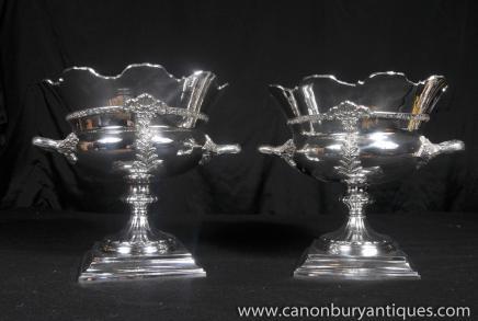 Paar viktorianischen Silver Plate Weinkühler Urnen Tankards Sektkühler