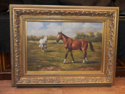 Pferd und Pony viktorianischen Ölgemälde Hirtenlandschaft Englisch Kunst