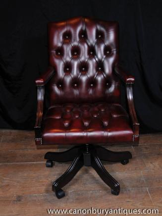 Regency Drehschreibtischstuhl Leder Sessel Tief-Taste