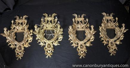Set 4 Louis XV Ormolu Lampen Wandleuchten Applikationen Candelabras