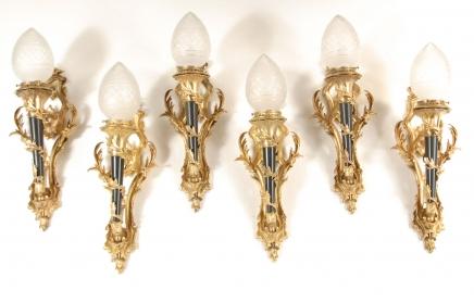Set 6 viktorianischen Torch Ormolu Lampen Wandleuchten Applikationen