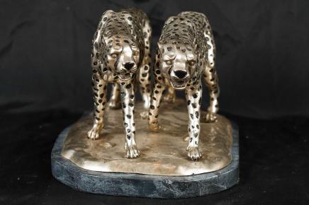 Silber Bronze Statue Cheetah Cat Geparden Deco Casting