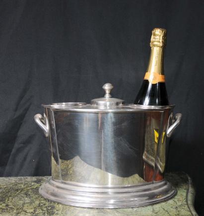 Silber Teller Wein Sektkühler Bucket