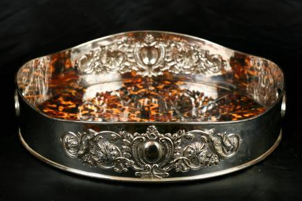 Silver Plate Butlers Tray Platter Faux Schildpatt viktorianischen