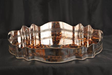 Silver Plate Butlers Tray Platter Schildpatt