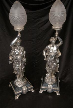 Silver Plate Gregoire Bronze Lampen Torcheres Unterzeichnung