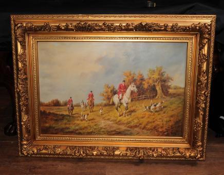 Unterzeichnet Ölgemälde Englisch Jagdszene Fox-Jagd ländliche Landschaft Kunst G. Roy