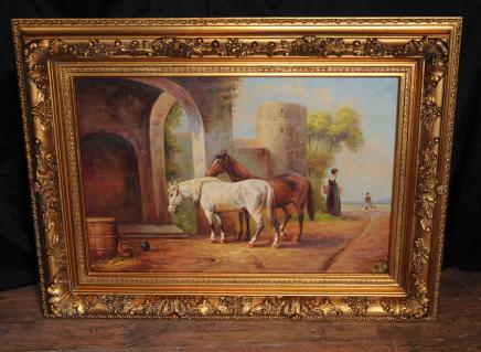 Unterzeichnet viktorianischen Ölgemälde Pferd Pferdeszene Gilt Frame