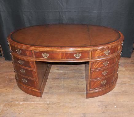 Victorian Partner Desk Mahagoni Oval Schreibtische Schreibtisch Möbel