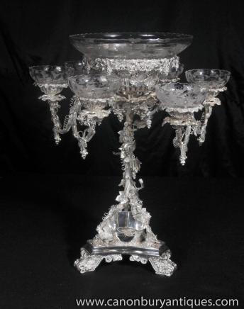 Victorian Rokoko Silver Plate Tafelaufsatz Tafelaufsatz Cherub Geschirr