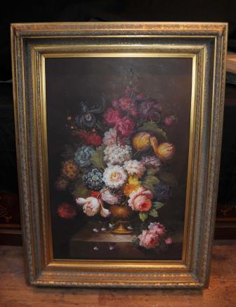 Viktorianische Blumen-Stillleben Ölgemälde Blumen Gilt Frame