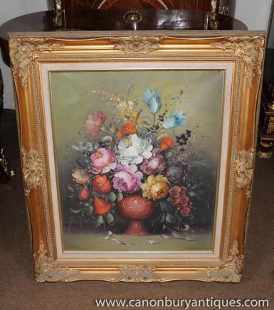 Viktorianische Blumen-Stillleben-Ölgemälde Gilt Frame-Kunst
