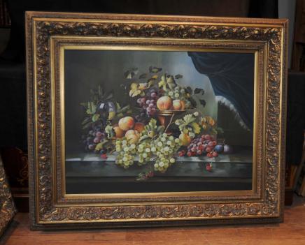 Viktorianischen Ölgemälde Blumen-Stillleben Blumen Gilt Frame