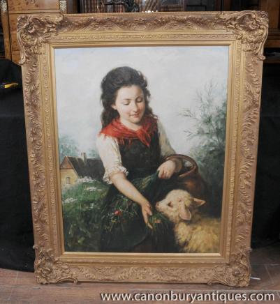 Viktorianischen Ölgemälde Pastoral Potrait Mädchen-Schafe Gilt Frame