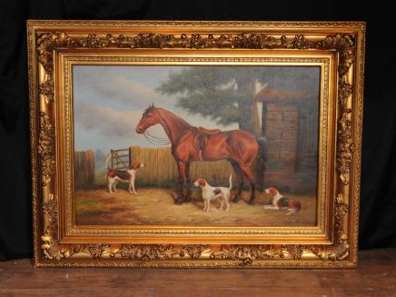 Viktorianischen Ölgemälde Pferd Hunde Hirtenszene Unterzeichnung G Roy