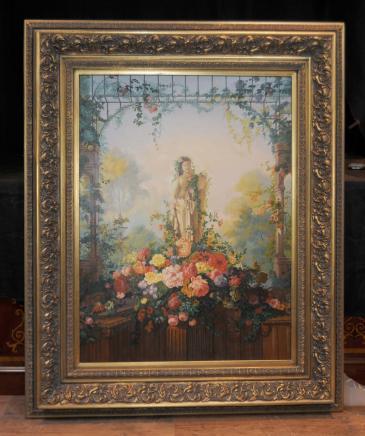 Viktorianischen Ölmalerei Maiden Blumenszenen Englischen Garten