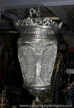 Viktorianischen Silver Plate Laterne Licht Kronleuchter Kristallglas