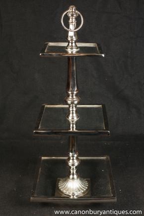 Viktorianischen Silver Plate Tortenständer Platter-Glasbehälter