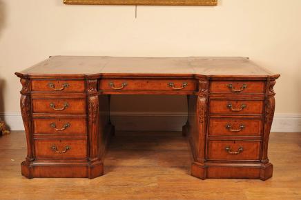 Walnut Victorian Partner Desk Schreibtische Büro