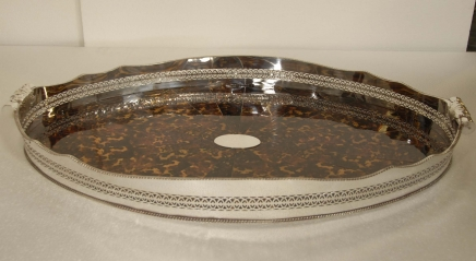 XL Faux Tortoise Shell Silver Butlers Tray Platter