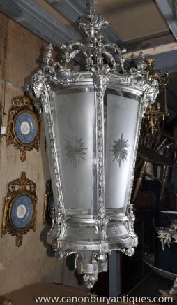 XL Französisch Reich Silver Plate Laterne Architetural Kronleuchter