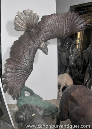 XL Great American Bald Eagle Bronze Statue Raubvogel Architektur Bronzen