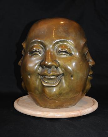 XL Smiling Buddha Bronze Büste Statue buddhistischen